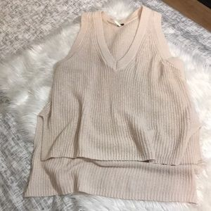 Free people chunky cable knit vneck sweater